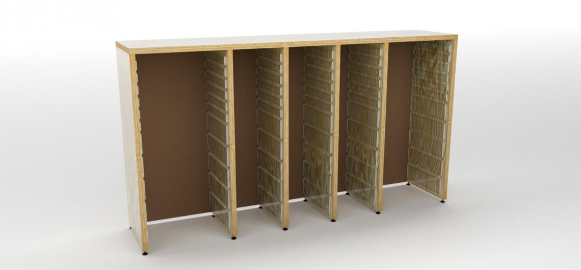 reol der kan indrettes med kasser fra ikea og plader fra palmelund arbejdsborde til børn.