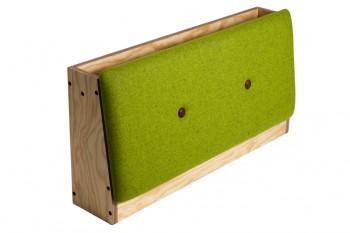 rygstoette-produktbillede, grøn filt, udstilling af bøger